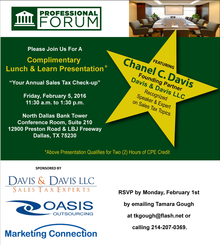 Dallas Sales Tax >> Event Professional Forum Lunch Learn Davis Davis Llc