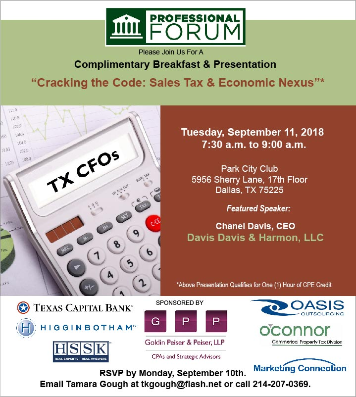 Dallas Sales Tax >> Sales Tax Economic Nexus With Chanel Davis Sept 11 Park City