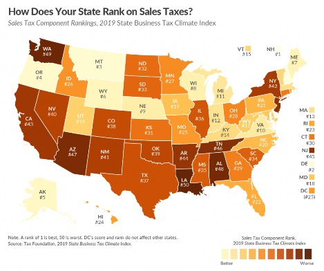 How Much Is Sales Tax In Texas >> 2019 State Business Tax Climate Index Sales Taxes Davis Davis Llc